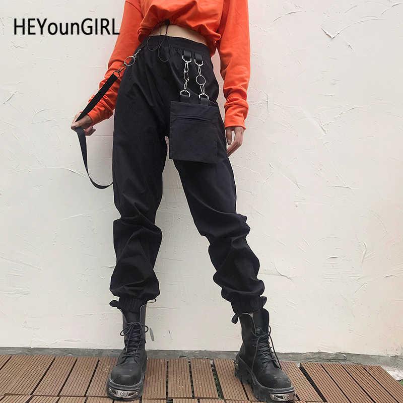 Heyoungirl Túi Hông Hợp Bông Tai Kẹp Quần Capris Đỏ Đen Cổ Cao Cấp Quần Tây Nữ Dạo Phố Quần Jogger Nữ Có Dây