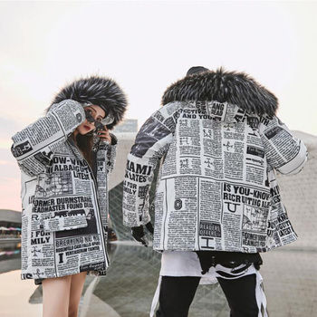 2019 Fur Collar Hooded Men Winter Jacket Hip Hop Newspaper Whole Body Print Man Jacket And Coat Windproof Male Parkas Casaco