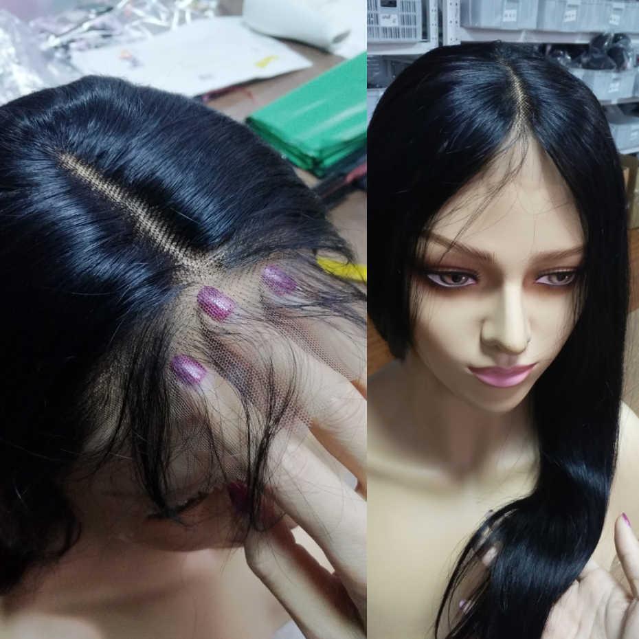 Peruwiański peruki z prostymi włosami ludzki włos koronki Frontal 360 zamknięcie wstępnie oskubane włosy z dzieckiem włosy średni brązowy koronki kolor uwalnia statek