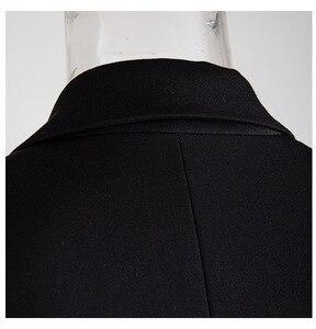 Image 3 - Женский пиджак с отложным воротником EAM, черное Свободное пальто с длинным рукавом, весна осень 2020
