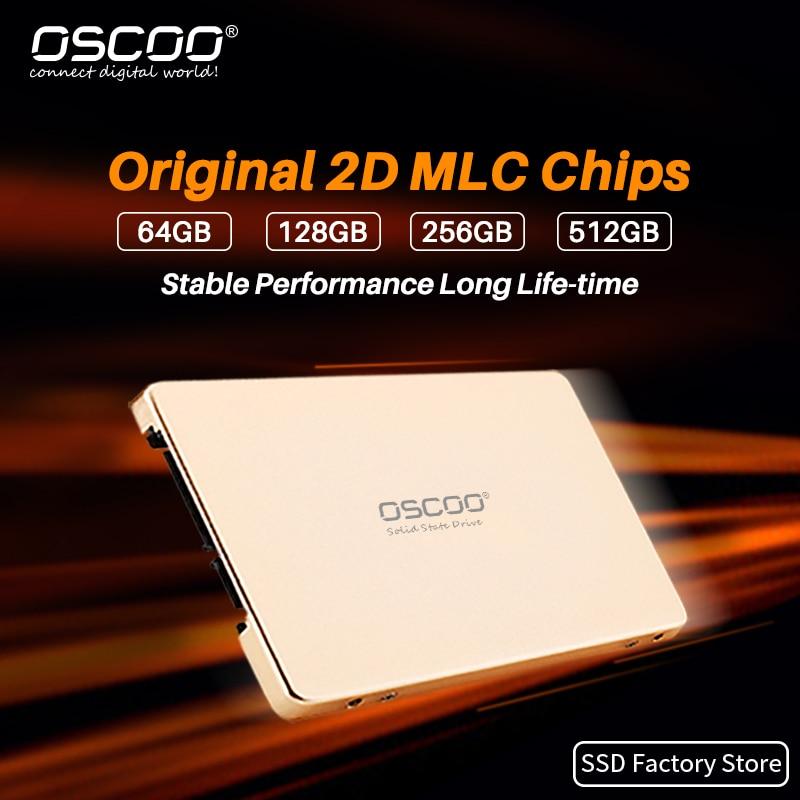 OSCOO SATA SSD 64 Гб 128 256 512 для Ноутбуки и настольные компьютеры внутренний жесткий диск с оригинальным MLC 2D чипы Высокое качество HDD