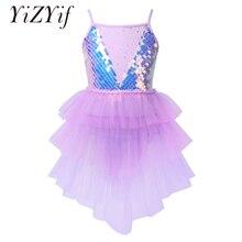 Costume Ballet-Dress Gymnastics-Leotard Shiny Tutu Dancewear Mesh Sequins Girls Kids