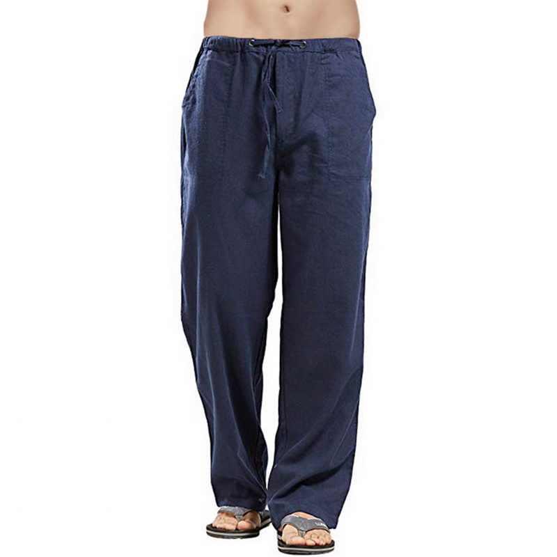 リネンのズボンの男性の夏のズボンリネン汗快適パンツストレッチウエストストレート通気性固体のための