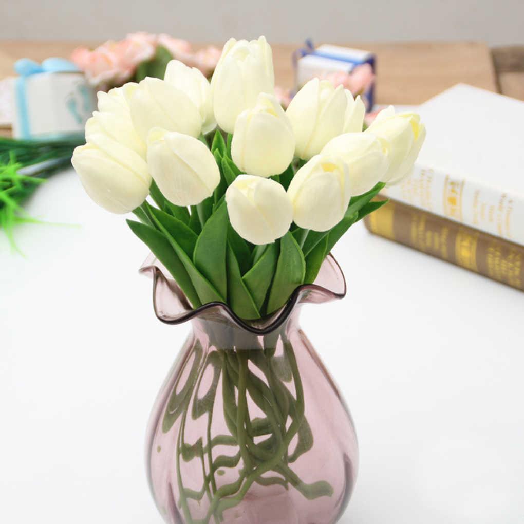 5pcs ประดิษฐ์ดอกไม้สัมผัสจริงดอกทิวลิปปลอม PU Tulips สำหรับงานแต่งงาน DIY Home PARTY Decor สำหรับงานแต่งงานตารางตกแต่ง