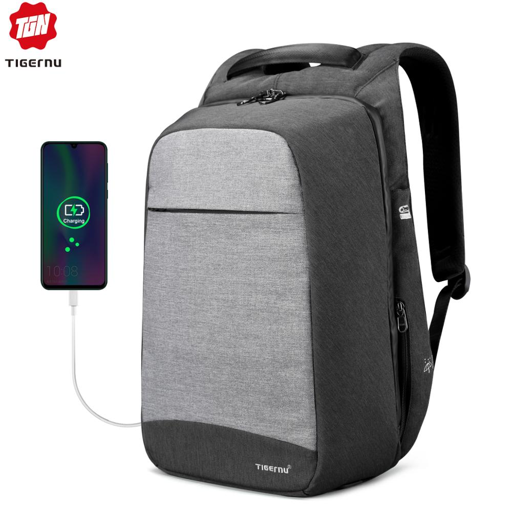 Tigernu Laptop Backpack Business Bags USB Charging Male Mochila Anti Theft Water Resistant School Bookbag for College Travel image