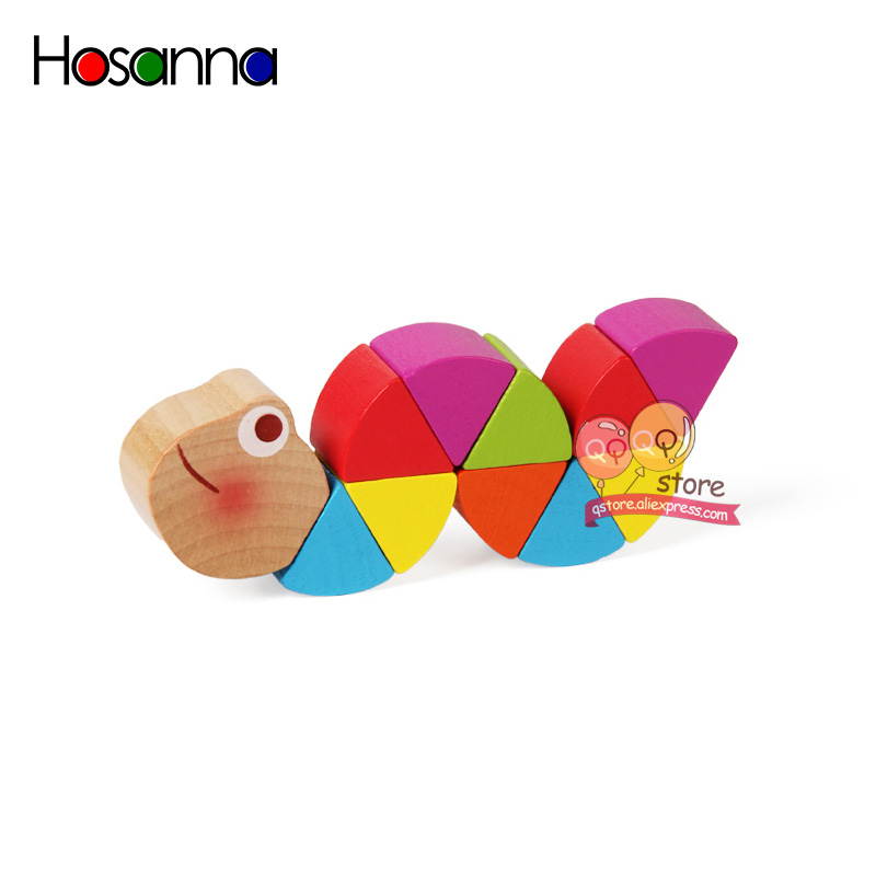 Colorful Wooden Worm Puzzles Kids Learning Educational Didactic Baby Development Toys Fingers Game for Children Montessori Gift 3