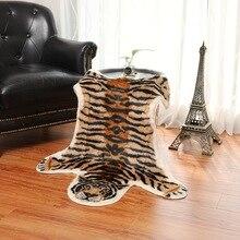 Nordic Style Animal Imitation Leather Carpet Tiger Pattern Bedroom Bedside Study Short Hair Washable