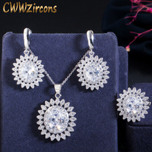 CWWZircons 3 piece Fashion Ladies Jewelry Set High Quality Cubic Zirconia Summer Flower Earring Necklace And Ring Sets T147 cwwzircons long water drop cubic zirconia stone big vintage royal wedding necklace and earring jewelry set for brides t205