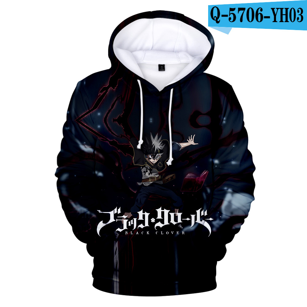 Brand Designer Black Clover 3D Hoodies Teens Fashion Novelty Hooded Sweatshirts Spring High Quality Outerwear Sportswear