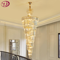 Luxury modern crystal chandelier for staircase gold/chrome home decoration loft chandeliers lighting fixtures