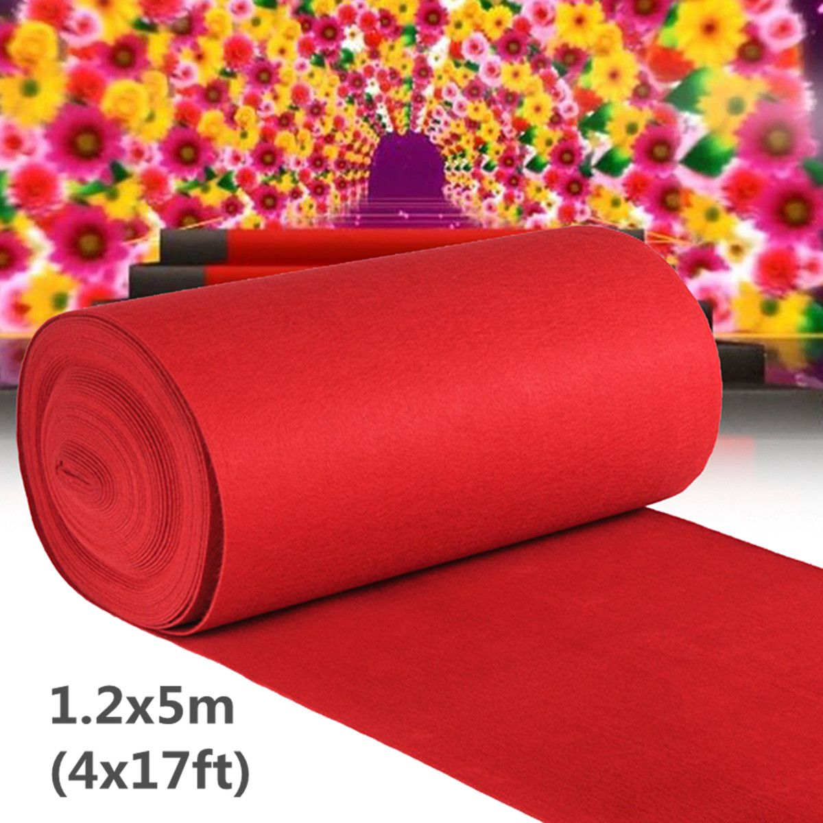 1.2x5m Large Red Carpet Wedding Aisle Floor Runners Hollywood Party Prom Carpet Wedding Decoration Props Accessories Disposable