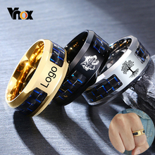 Vnox Customize Logo 8mm Men's Ring Carbon Fiber Wedding Band Personalized Simple Icon Image Meaningful Gift to Husband Dad