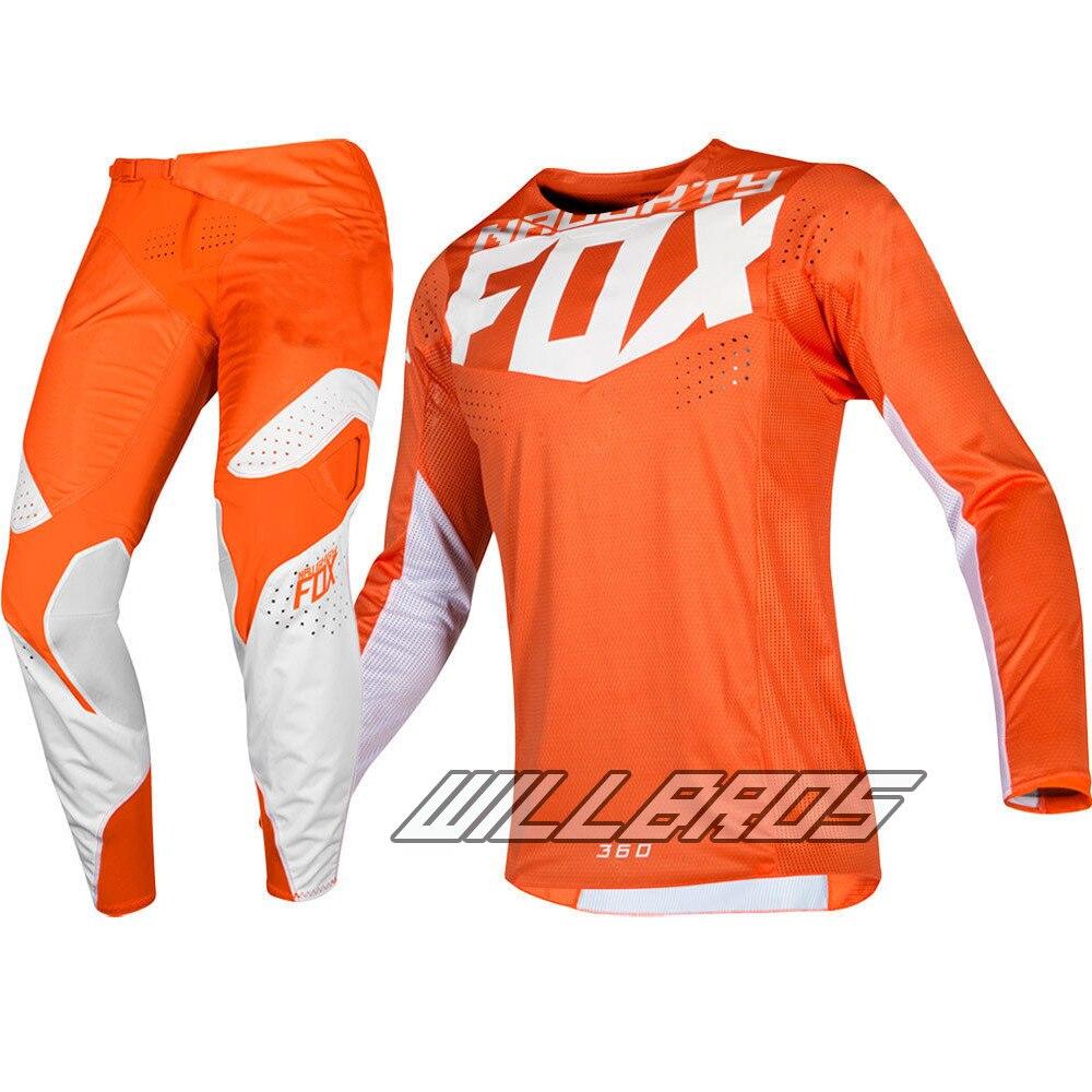Orange White Delicate Fox 2019 MX 360 Kila Jersey Pants Motorcycle Street Moto Gear Set Automotive Black Suit