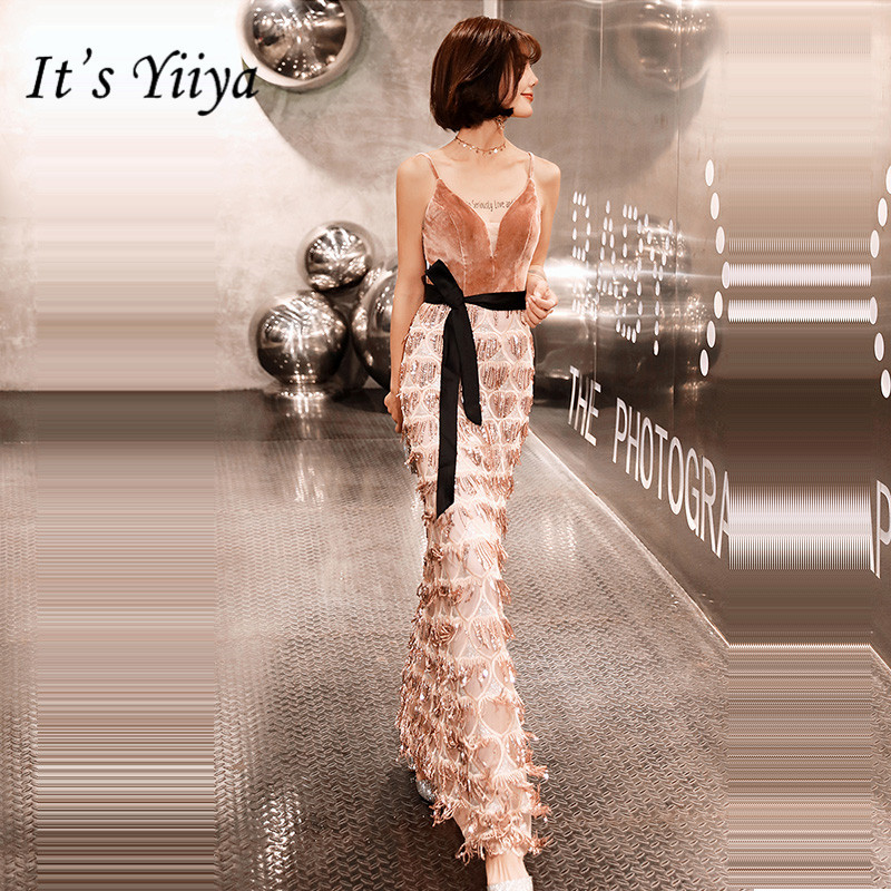 It's Yiiya Evening Dress 2019 Sexy V-Neck Sleeveless Mermaid Women Party Night Dresses Elegant Plus Size Robe De Soiree E901