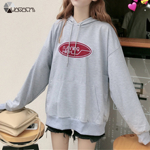 цена на Women Autumn Thin Autumn Hooded Sweatshirts Casual Loose Letter Printed Plus Size Hoodies Long Sleeve Fashion Sport Top Pullover