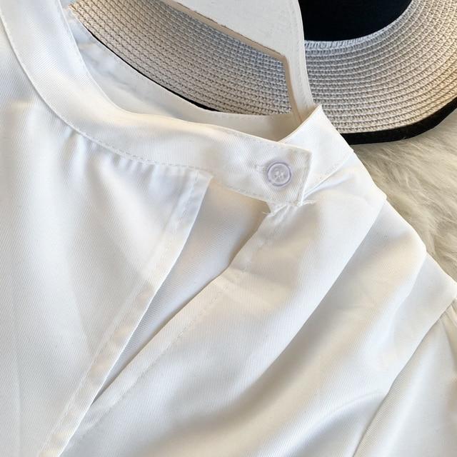 Women's Hollow Short Puff Sleeve Short Crop Tops Lady Round Neck Sexy Shirt  Camisas Mujer  Blusas Mujer De Moda Blouse K693 3