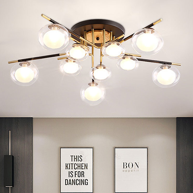 Northern European-Style Bedroom Lamp Post-modern Simple Art Living Room Restaurant Ceiling Lamp Creative Cool Library Iron Art L