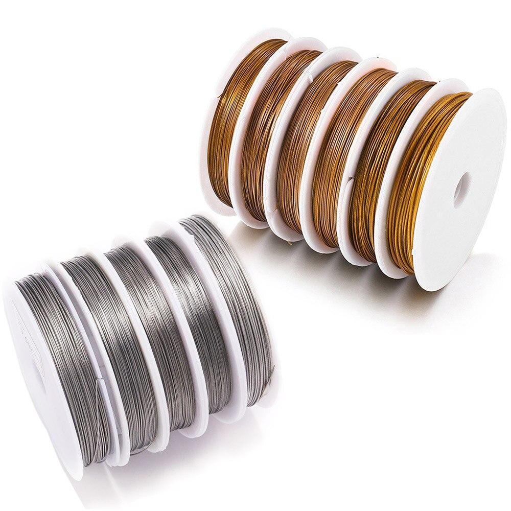 Rolo de fio de aço inoxidável resistente, 1 rolo/lotes 0.3/0.45/0.5/0.6mm fio de contas para a busca da jóia