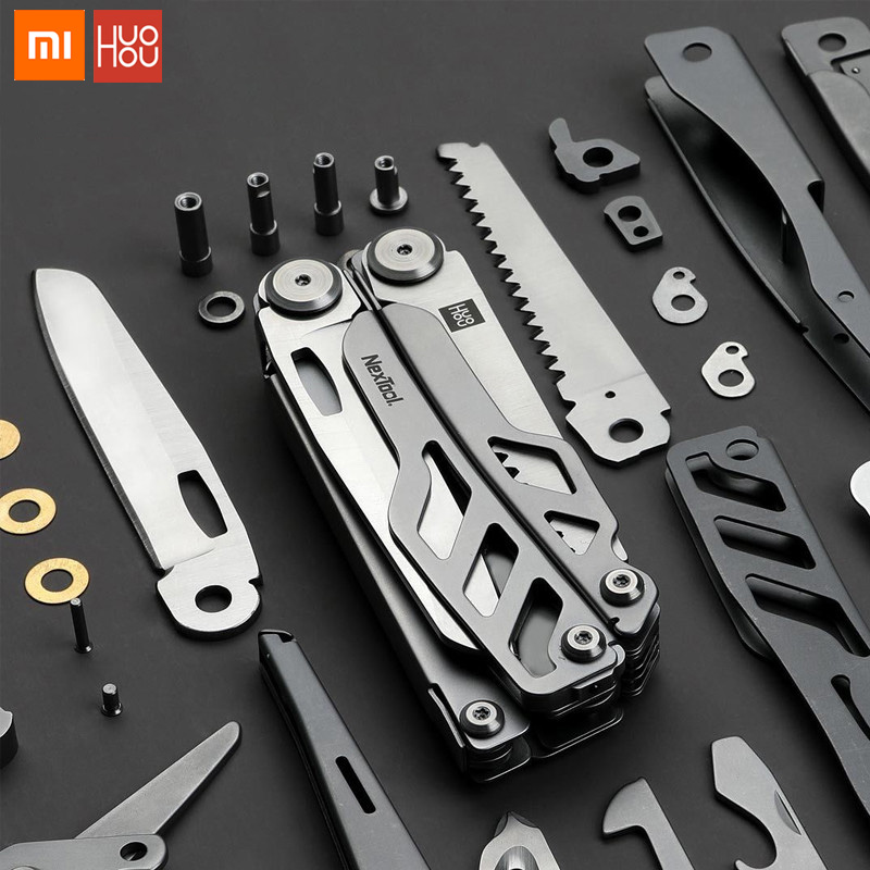 Xiaomi huohou multi-função Faca Dobrável Facas de Caça Ao Ar Livre Do Exército Do Aço Inoxidável Abridor de garrafas Chave de Fenda Alicate Campin