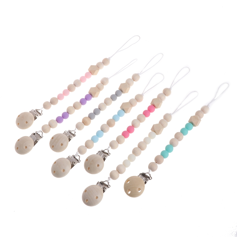 Nipple Holder Beaded Wooden Baby Pacifier Clip Chain Nipple Leash Strap Pacifier Clips Soother Chain