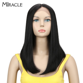 цена на Miracle Synthetic Wigs For Black Women Straight Hair Ombre Blond Short Bob Wig  Cosplay Red Lace Wig Synthetic Lace Front Wig