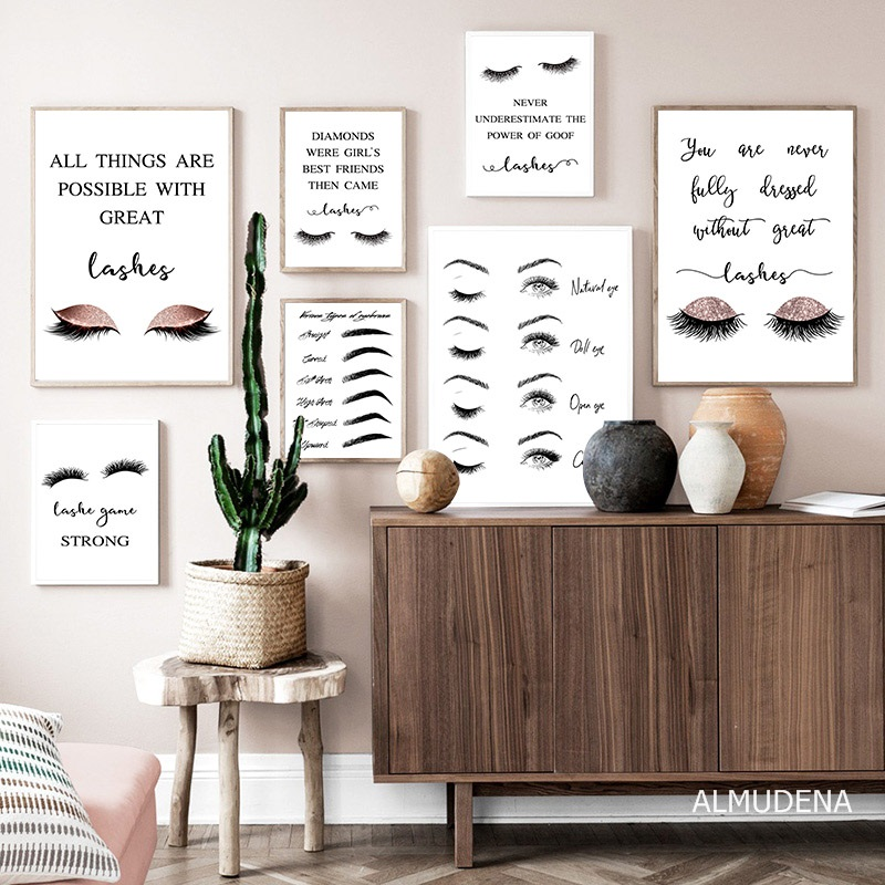 Fashion Girl Feather Canvas Poster Beauty Quotes Art Print Modern Home Decor