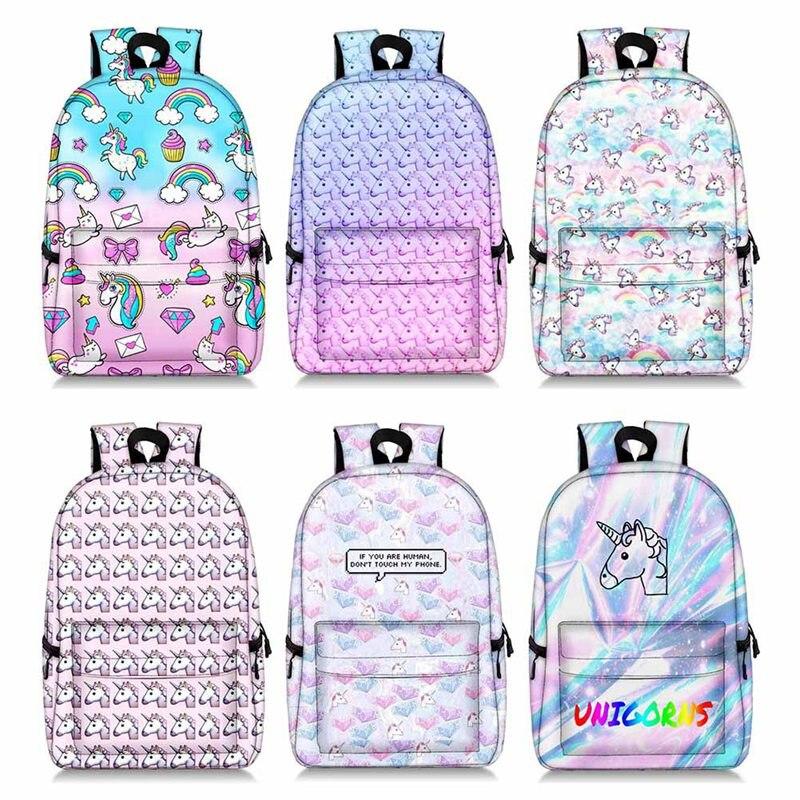1PC Unicorn Printed Backpack Cute Print Unicorn Bag Teenager Girl Large Capacity Book School Bag Women Double Shoulder Backpack
