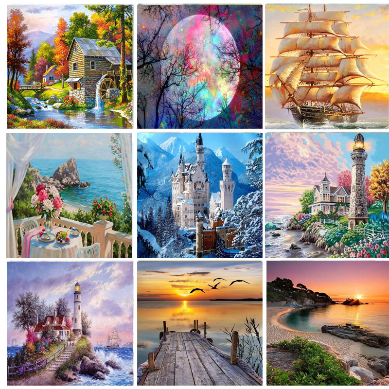 Full Square Diamond Painting Cross Stitch Landscape 5d Embroidery Sale Scenery Rhinestones Diy Needlework Home Decor Gift