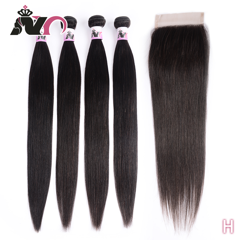 NY Remy Bundles With Closure Brazilian Straight Human Hair Bundles With Closure Natural Color 4 Bundles With 4*4 Lace Closure
