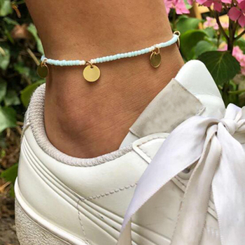 Blue Beads & Coin Anklet