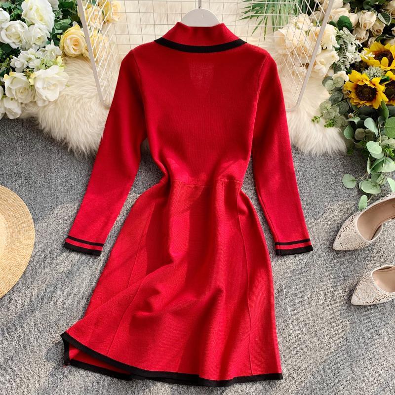 ALPHALMODA Retro Autumn Dress 2019 New Lapel Collar Long-sleeved Dress Double-row Button-down Slim OL Casual Knit Dress 37