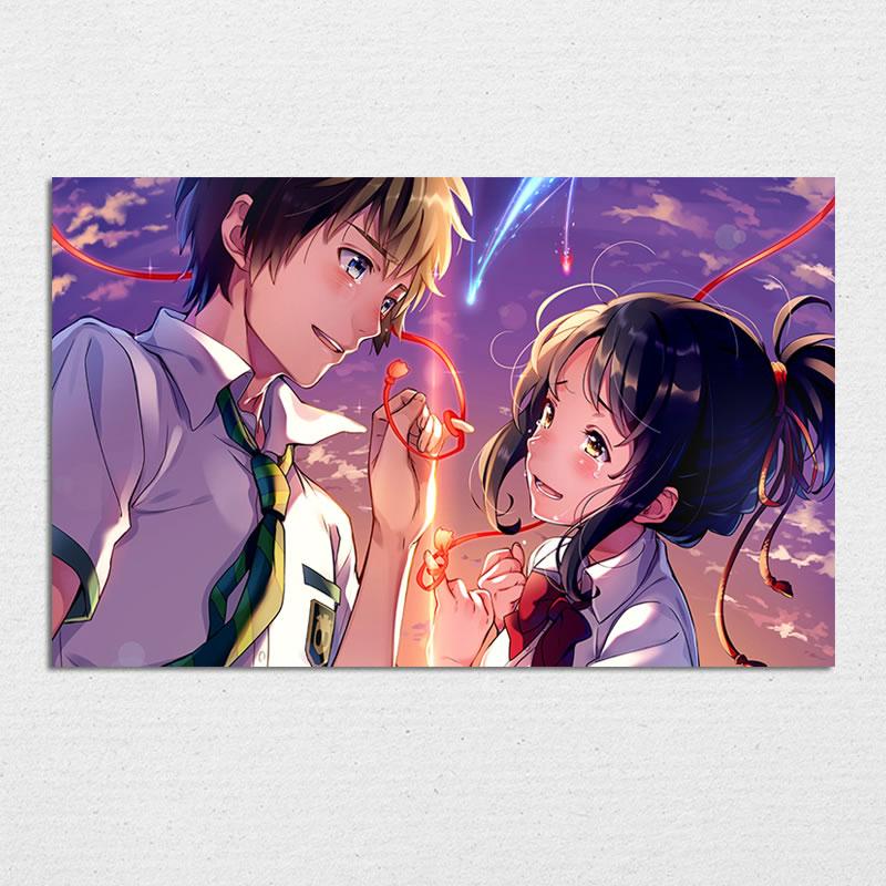 Kimi No Na Wa, Your Name Anime Poster, Japanese Manga Wall Art Print, Mitsuha Miyamizu Taki Tachibana Silk Pictures