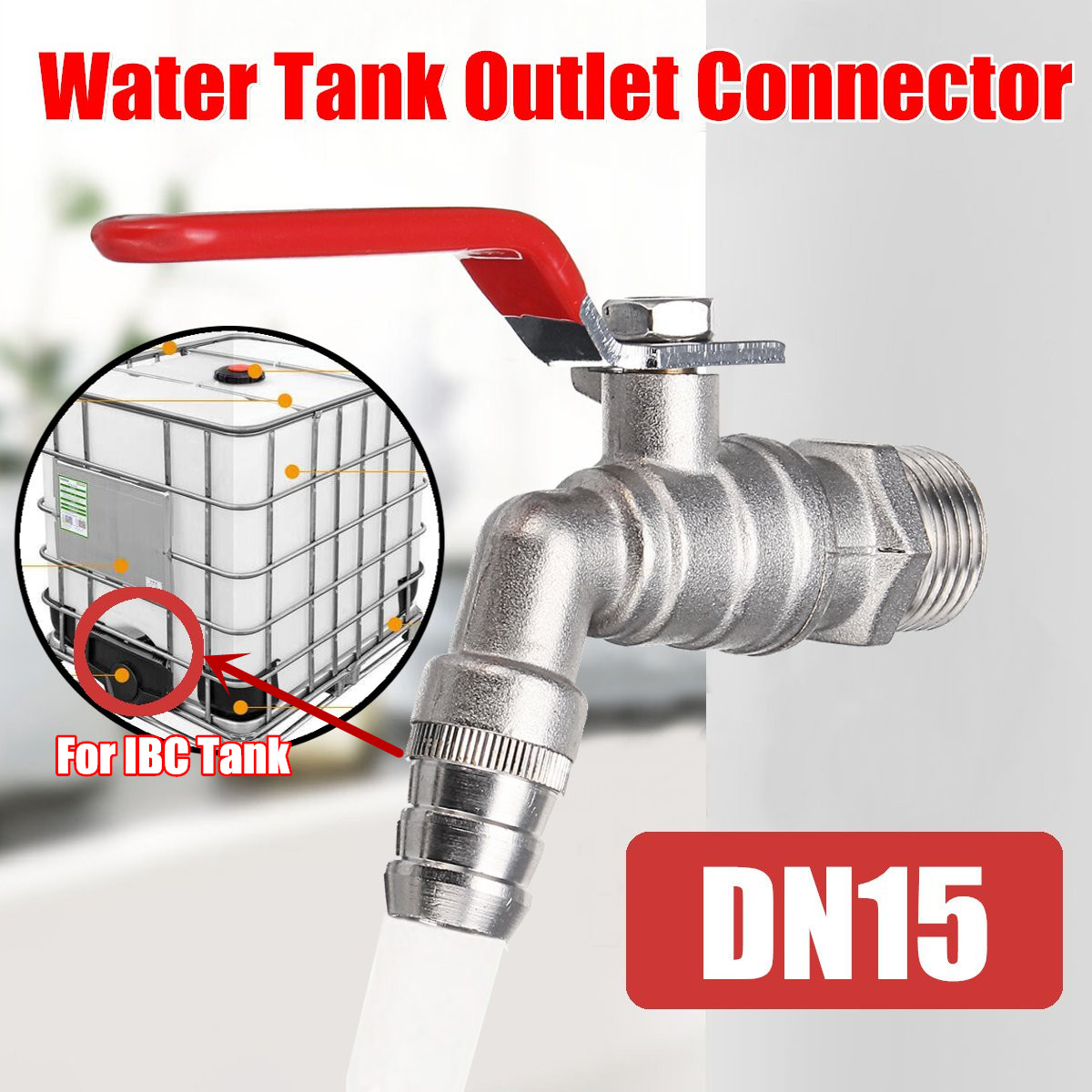DN15 Water Tank Outlet Connector 104 Faucet Thread Mounting For IBC Tank Tool Parts Brass