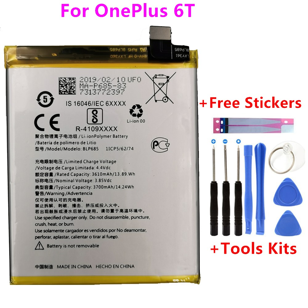 Original Replacement Phone Battery For OnePlus 6T A6010 BLP685 3700mAh High Quality Replacement Li-ion Batteries Free Tools