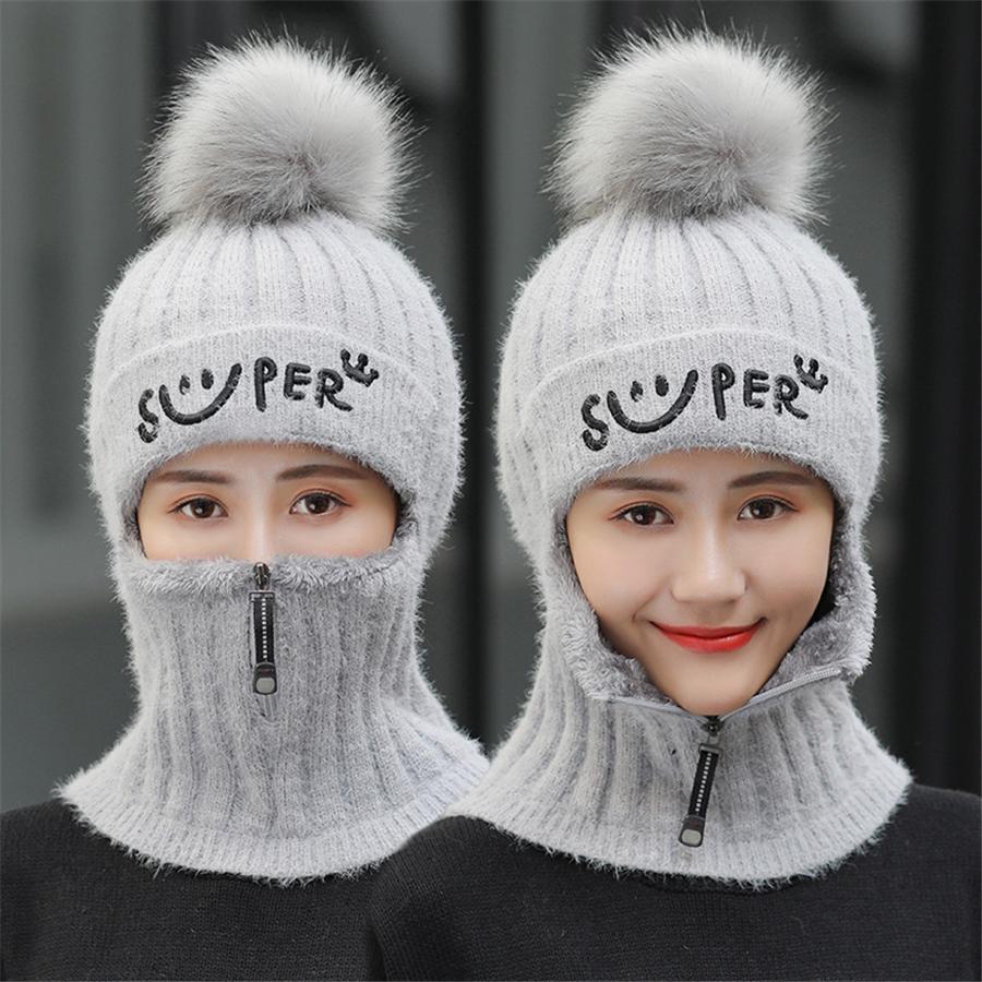 Image 5 - Brand Winter Hats Set Women Knitted Wool Hat Mask Lady Warm Velvet Thick Cycling Beanies Skullies Hat Female Collar Jumper CapWomens Skullies & Beanies   -