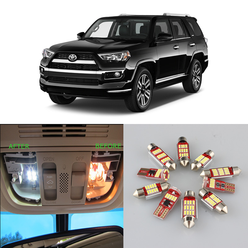 White Car Bulbs LED Interior Map Dome Light Kit For 1996-2014 <font><b>2015</b></font> 2016 2017 2018 2019 <font><b>Toyota</b></font> <font><b>4Runner</b></font> Reading Cargo License Lamp image