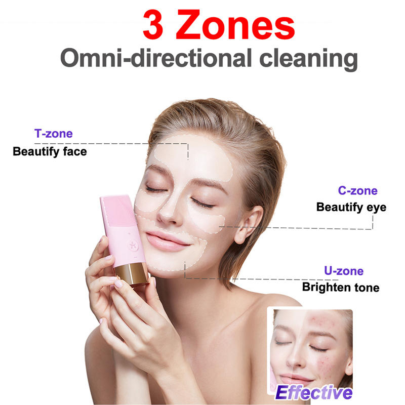 USB Rechargeable Facial Cleansing Brush Face Cleaner Silicone Deep Pore Cleaning Electric Waterproof Massage Soft Face Wash