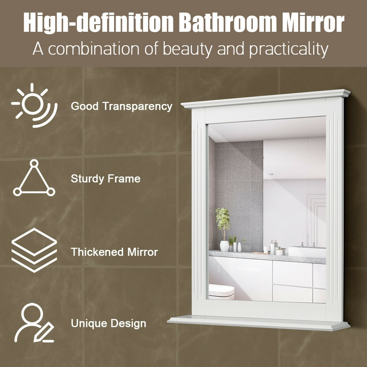 Bathroom Wall Mirror Extra Storage Shelf Vanity Makeup Mirror High Quality Waterproof MDF Material Elegant Hallway Hotel Mirror 10