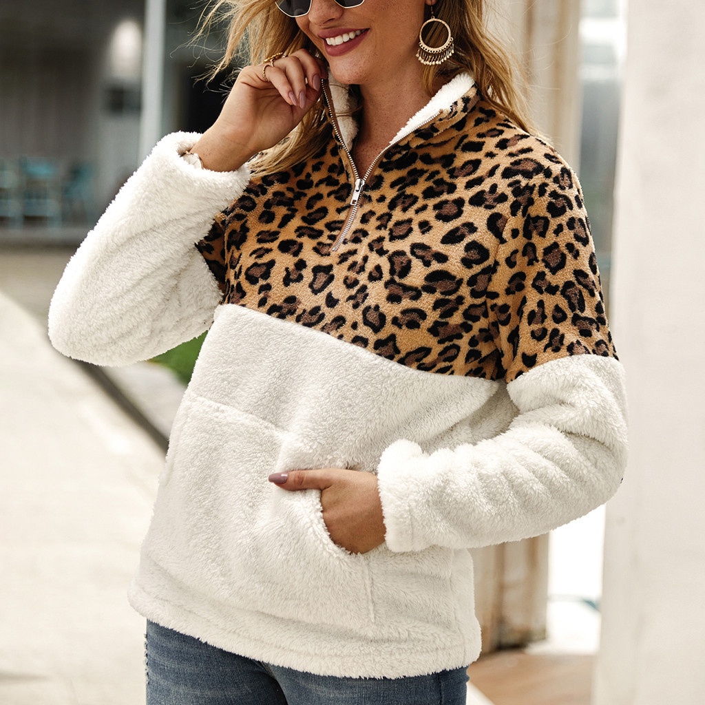 Winter Outerwear Coats Womens Leopard Fleece Jackets Female Casual Faux Fur Zipper Pullover Sweater Thick Coats New