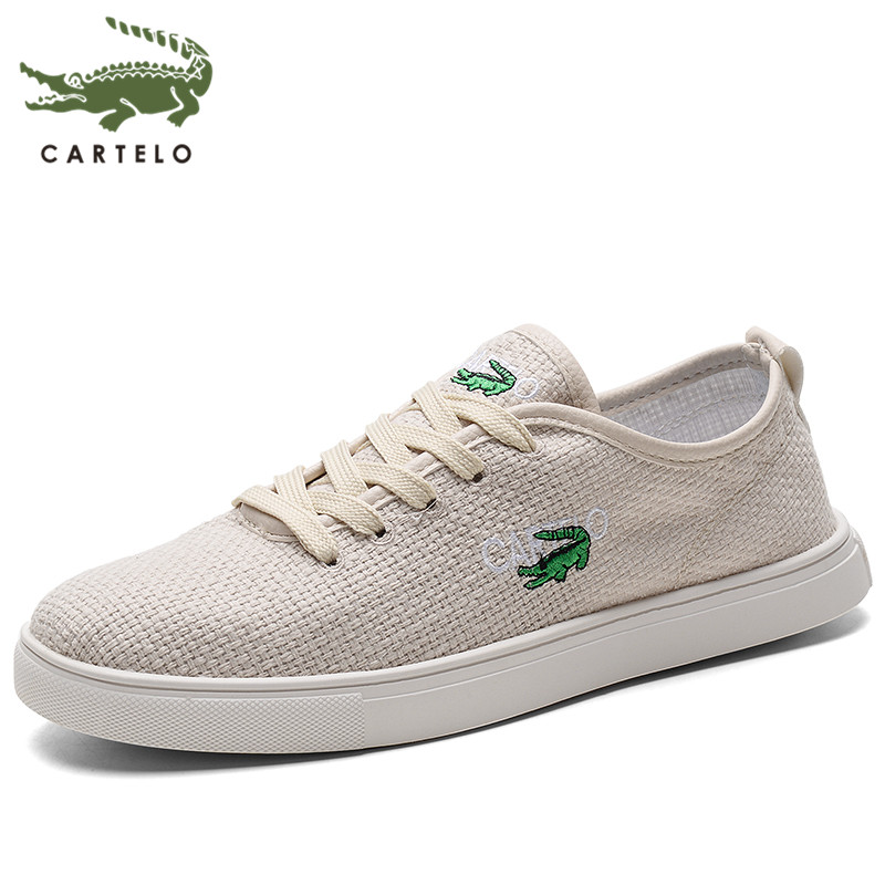CARTELO Breathable Linen Low-top Lace-up Light And Comfortable Outdoor Fashion Casual Canvas Shoes Men