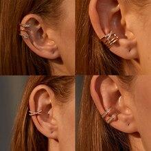 Cross-Ear-Cuff Earrings Jewelry Zircon Fake Piercing Cartilage-Clip Minimalist Gold-Silver-Color