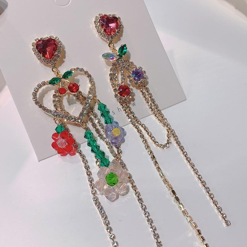 Korean Luxury Rhinestone Heart Long Tassel Drop Earrings For Women Fashion Cute Cherry Jewelry Pendientes Mujer