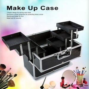Image 1 - كبير منظم أدوات التجميل صندوق لطيف ماكياج التجميل المنظم حافظة للمكياج ل أدوات تجميل قابل للقفل الأسود تحتوي على صندوق تخزين