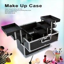 Grande Box Organizzatore Cosmetici Carino Trucco Cosmetico Organizzatore Make Up Caso per il Make Up Strumenti Con Serratura Nero Contenente Scatola di Immagazzinaggio