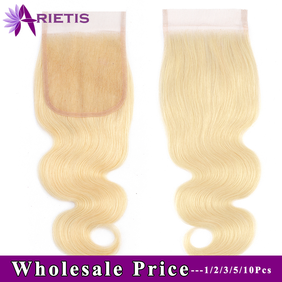 Arietis Hair 613 Blonde Brazilian Body Wave HD Closure 4x4 Transparent Swiss Lace Closure With Baby Hair Human Hair Closure