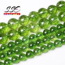 4 6 8 10 12mm natural verde peridot cristal de quartzo redondo solta contas para fazer jóias diy pulseira colar 15inches polegadas/fios