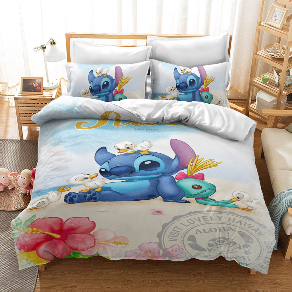 Home Textile Cartoon Stitch Bedding Set Children High Quality Duvet Cover Pillowcases Twin Full Queen King Blue 3d Bedclothes