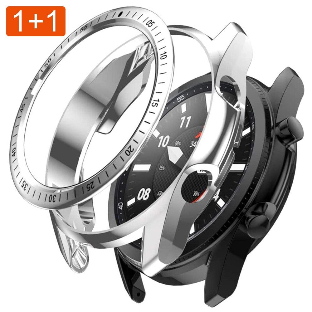 Para galaxy watch 3 45mm caso + moldura loop estilo pára choques para samsung galaxy assista 3 41mm tpu caso + moldura anel capa antiscratch Caixas de relógios    -