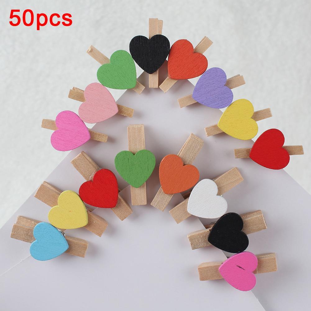 50Pcs  Heart  Wooden  Clothespin  Photo  Paper  Peg  Pin  Craft  Postcard Clip Home  Decor