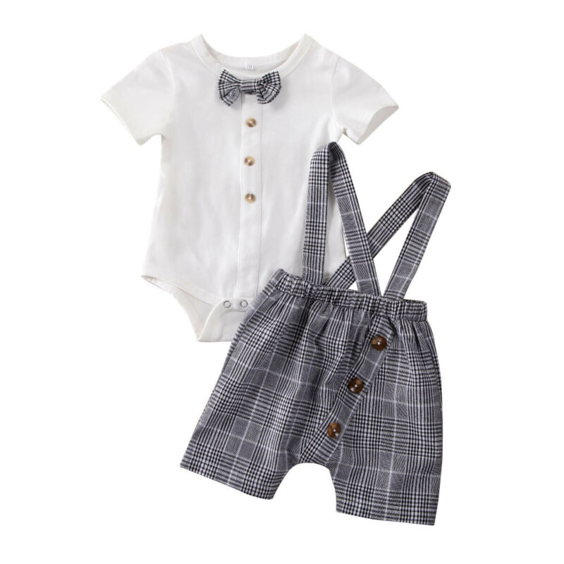 2Pcs Summer Newborn Baby Boys Gentleman Clothes Set Bowtie Romper Jumpsuit+Suspender Bib Pants Birthday Party Boy Outfit Suit